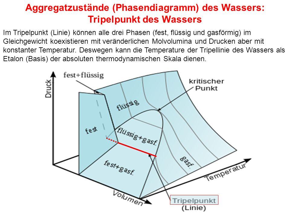 Aggregatzustände (Phasendiagramm) des Wassers: Tripelpunkt des Wassers Im Tripelpunkt (Linie) können alle drei Phasen (fest, flüssig und gasförmig) im