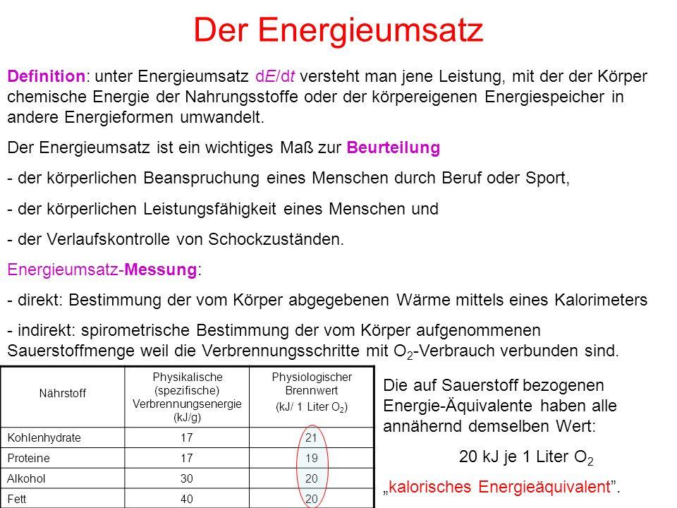 Der Energieumsatz Definition: unter Energieumsatz dE/dt versteht man jene Leistung, mit der der Körper chemische Energie der Nahrungsstoffe oder der k