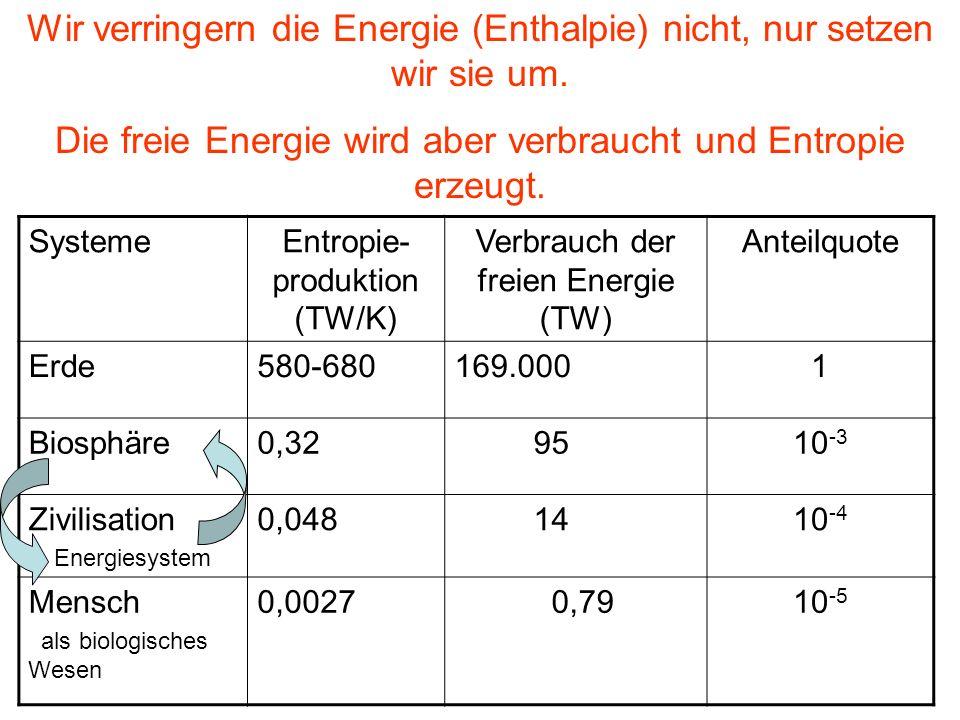 Wir verringern die Energie (Enthalpie) nicht, nur setzen wir sie um. Die freie Energie wird aber verbraucht und Entropie erzeugt. SystemeEntropie- pro