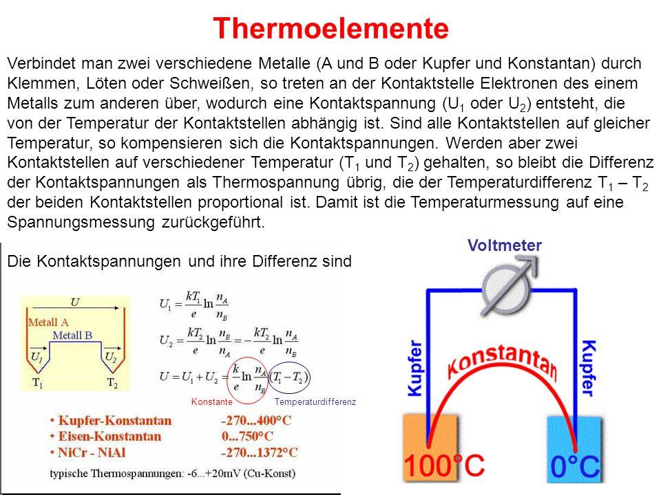 Thermoelemente Verbindet man zwei verschiedene Metalle (A und B oder Kupfer und Konstantan) durch Klemmen, Löten oder Schweißen, so treten an der Kont
