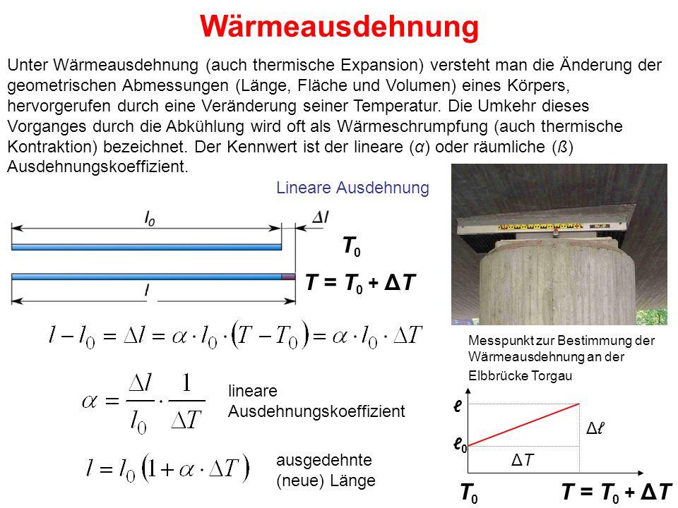 Wärmeausdehnung Messpunkt zur Bestimmung der Wärmeausdehnung an der Elbbrücke Torgau Lineare Ausdehnung Unter Wärmeausdehnung (auch thermische Expansi