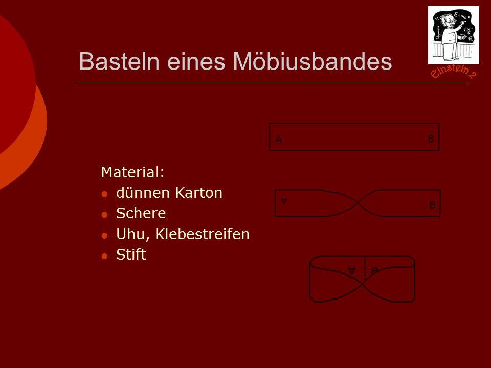Basteln eines Möbiusbandes Material: dünnen Karton Schere Uhu, Klebestreifen Stift