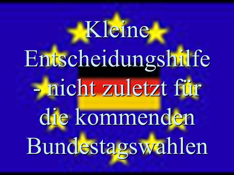 Kleine Entscheidungshilfe - nicht zuletzt für die kommenden Bundestagswahlen