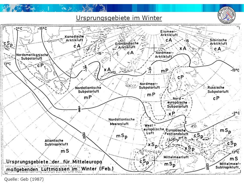 Quelle: Geb (1987) Ursprungsgebiete im Winter
