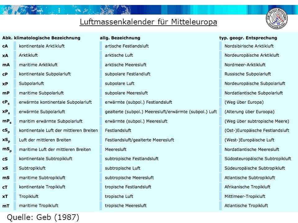 Luftmassenkalender für Mitteleuropa Quelle: Geb (1987)