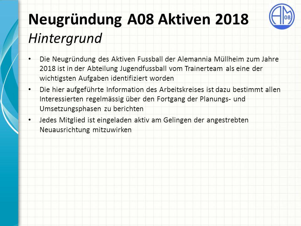 Neugründung A08 Aktiven 2018 Hintergrund Die Neugründung des Aktiven Fussball der Alemannia Müllheim zum Jahre 2018 ist in der Abteilung Jugendfussbal