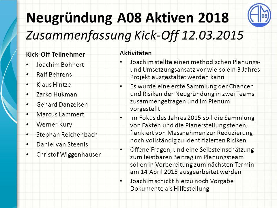 Neugründung A08 Aktiven 2018 Zusammenfassung Kick-Off 12.03.2015 Kick-Off Teilnehmer Joachim Bohnert Ralf Behrens Klaus Hintze Zarko Hukman Gehard Dan
