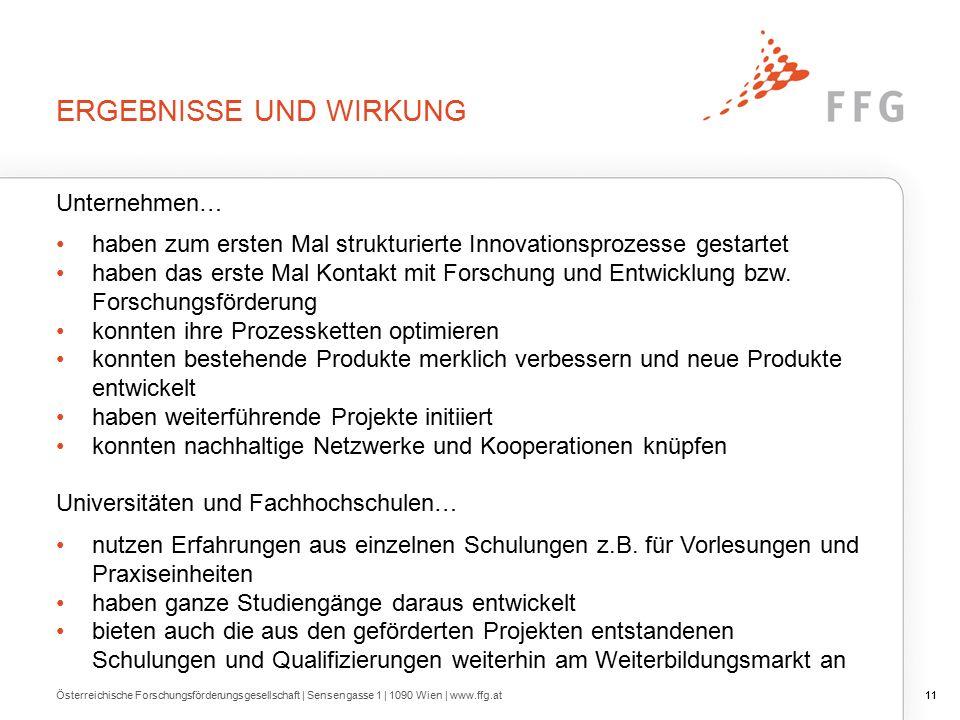 11 ERGEBNISSE UND WIRKUNG Österreichische Forschungsförderungsgesellschaft | Sensengasse 1 | 1090 Wien | www.ffg.at11 Unternehmen… haben zum ersten Mal strukturierte Innovationsprozesse gestartet haben das erste Mal Kontakt mit Forschung und Entwicklung bzw.