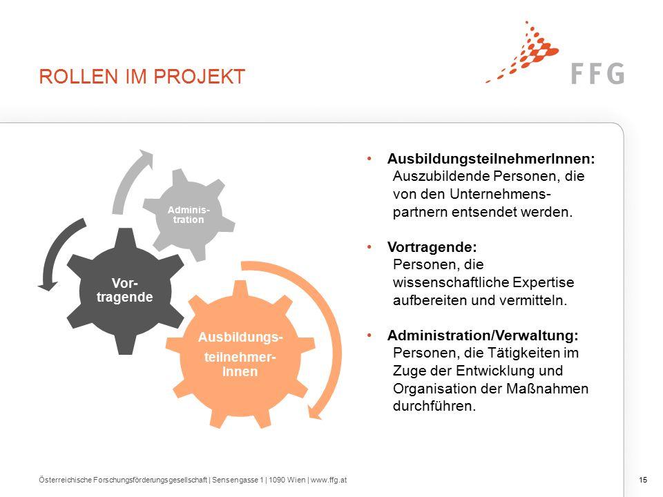ROLLEN IM PROJEKT Österreichische Forschungsförderungsgesellschaft | Sensengasse 1 | 1090 Wien | www.ffg.at15 AusbildungsteilnehmerInnen: Auszubildende Personen, die von den Unternehmens- partnern entsendet werden.