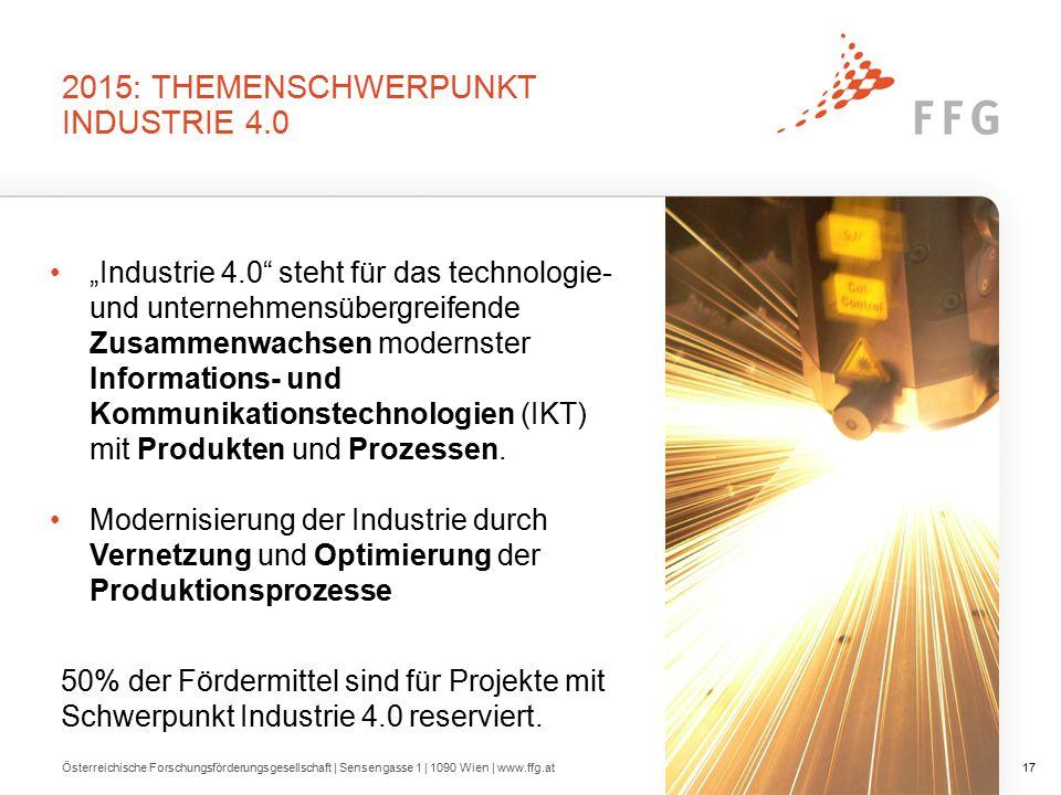 """2015: THEMENSCHWERPUNKT INDUSTRIE 4.0 """"Industrie 4.0 steht für das technologie- und unternehmensübergreifende Zusammenwachsen modernster Informations- und Kommunikationstechnologien (IKT) mit Produkten und Prozessen."""