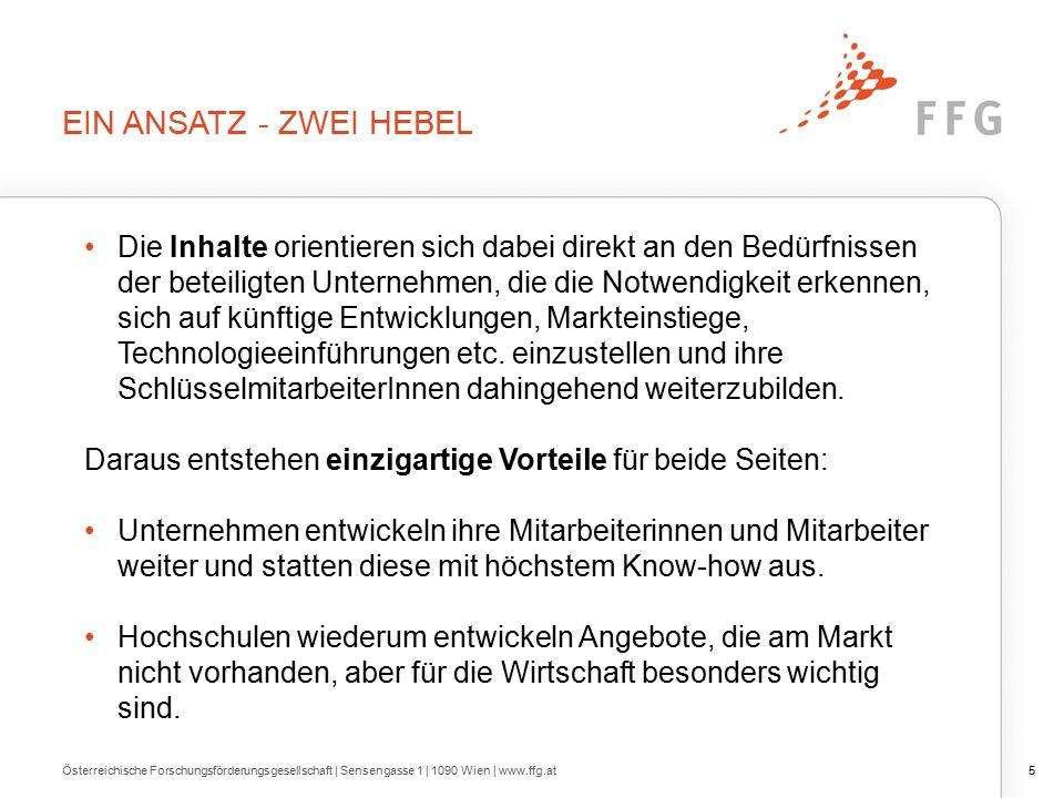 INHALTE DER QUALIFIZIERUNG Österreichische Forschungsförderungsgesellschaft | Sensengasse 1 | 1090 Wien | www.ffg.at16 Prinzipiell: Themen offen - aber mit Bezug zu FTEI (Forschung, Technologie, Entwicklung und Innovation) z.B.