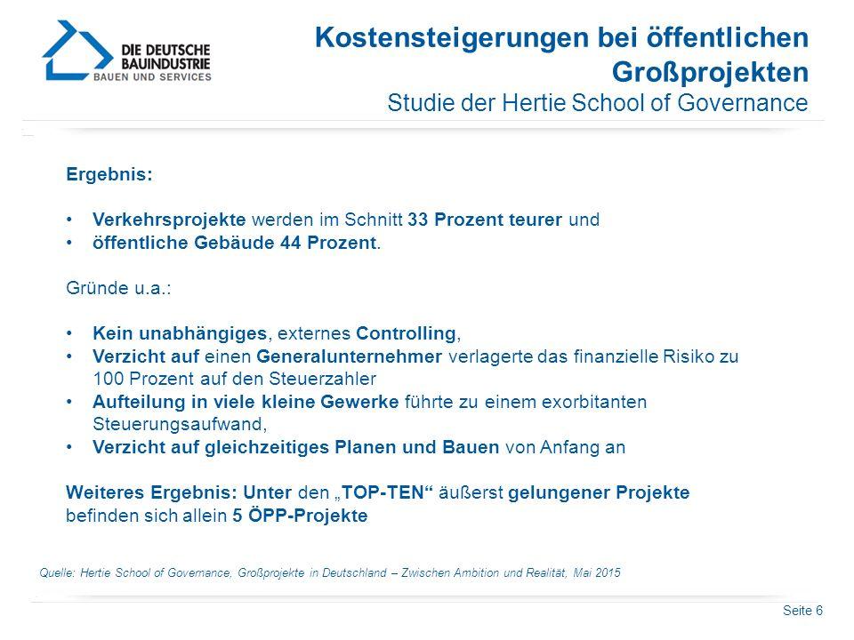 Seite 6 Kostensteigerungen bei öffentlichen Großprojekten Studie der Hertie School of Governance Quelle: Hertie School of Governance, Großprojekte in