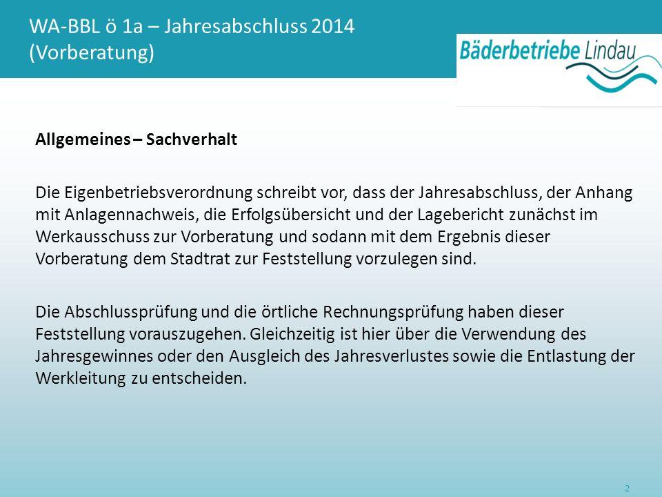 WA-BBL ö 1a – Jahresabschluss 2014 (Vorberatung) Allgemeines – Sachverhalt Die Eigenbetriebsverordnung schreibt vor, dass der Jahresabschluss, der Anh