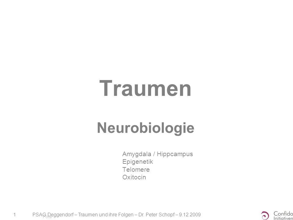 PSAG Deggendorf – Traumen und ihre Folgen – Dr. Peter Schopf – 9.12.2009 1 Folie 1 Traumen Neurobiologie Amygdala / Hippcampus Epigenetik Telomere Oxi