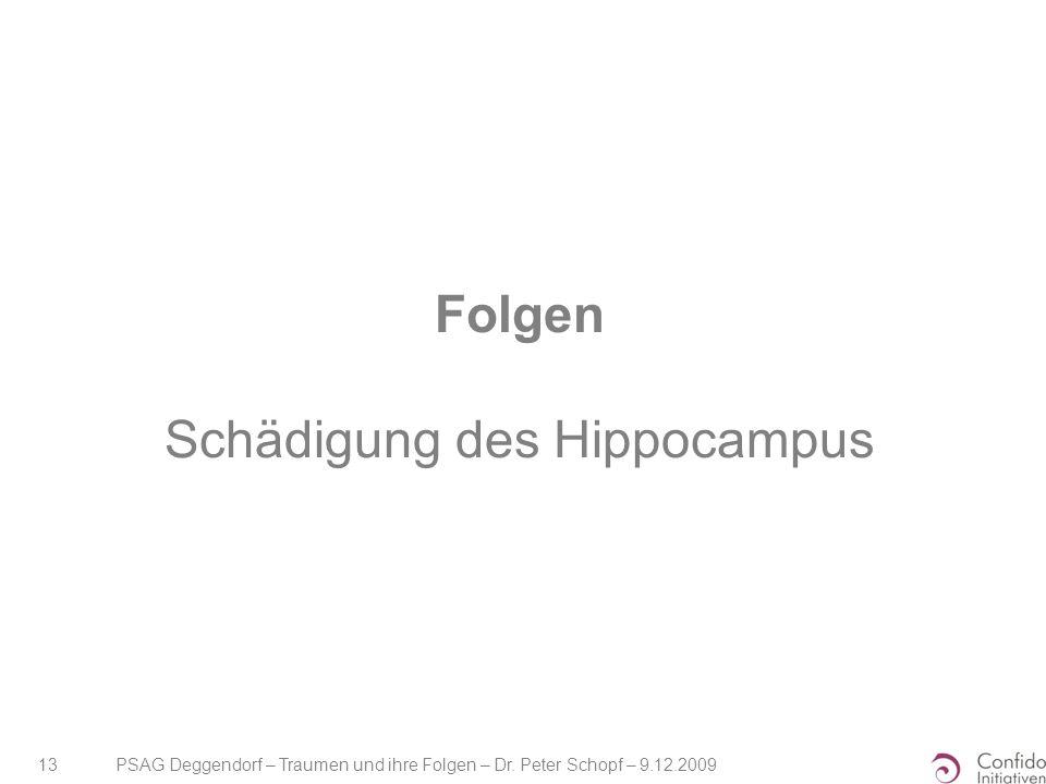 PSAG Deggendorf – Traumen und ihre Folgen – Dr. Peter Schopf – 9.12.2009 13 Folgen Schädigung des Hippocampus