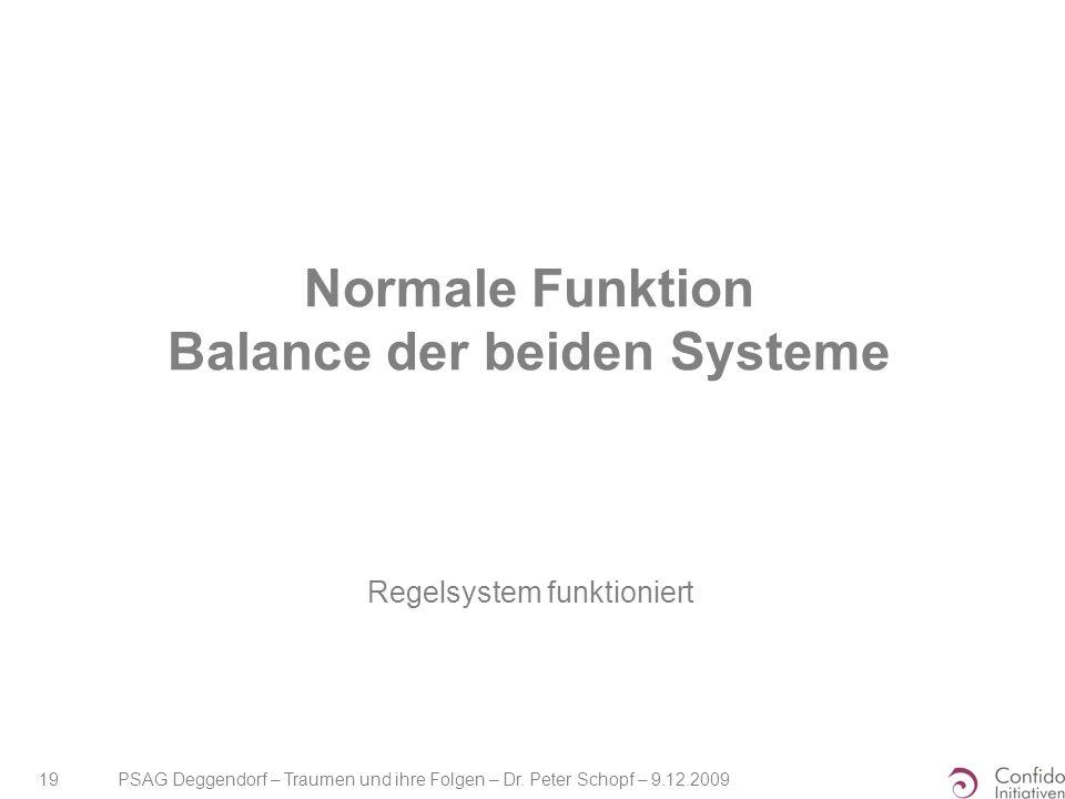 PSAG Deggendorf – Traumen und ihre Folgen – Dr. Peter Schopf – 9.12.2009 19 Normale Funktion Balance der beiden Systeme Regelsystem funktioniert