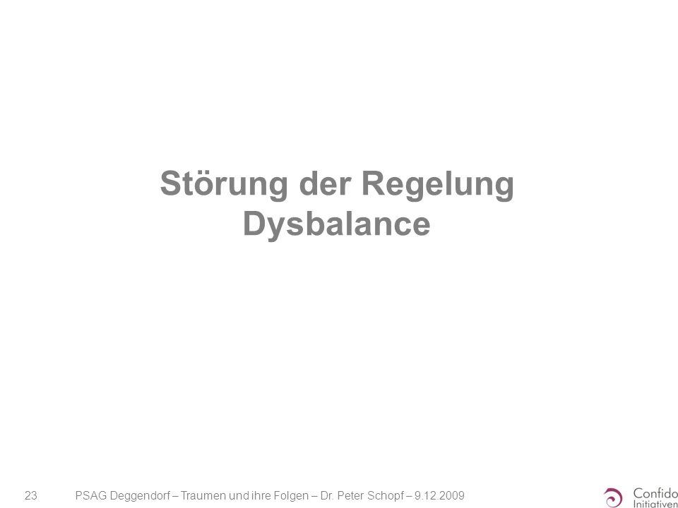 PSAG Deggendorf – Traumen und ihre Folgen – Dr. Peter Schopf – 9.12.2009 23 Störung der Regelung Dysbalance