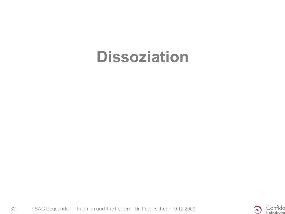 PSAG Deggendorf – Traumen und ihre Folgen – Dr. Peter Schopf – 9.12.2009 32 Dissoziation