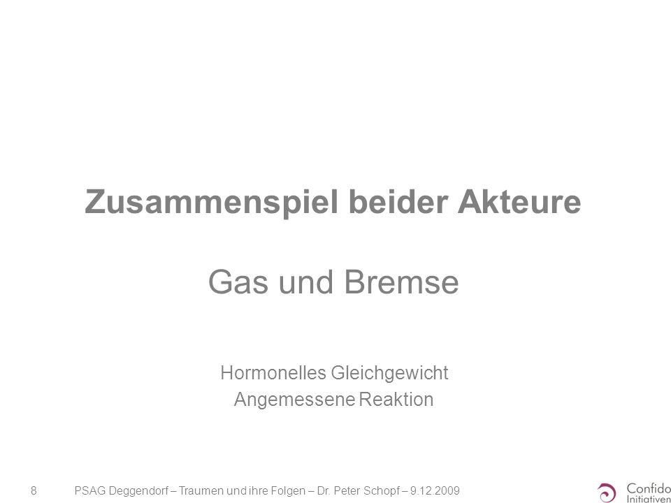 PSAG Deggendorf – Traumen und ihre Folgen – Dr. Peter Schopf – 9.12.2009 8 Zusammenspiel beider Akteure Gas und Bremse Hormonelles Gleichgewicht Angem