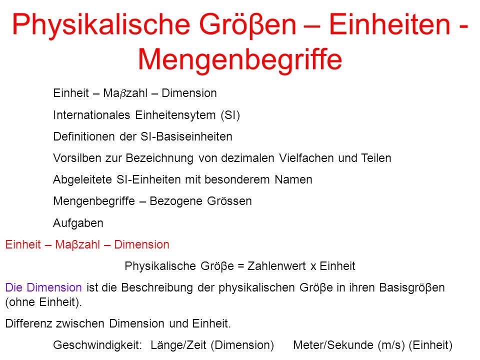 Einheit – Ma  zahl – Dimension Internationales Einheitensytem (SI) Definitionen der SI-Basiseinheiten Vorsilben zur Bezeichnung von dezimalen Vielfac