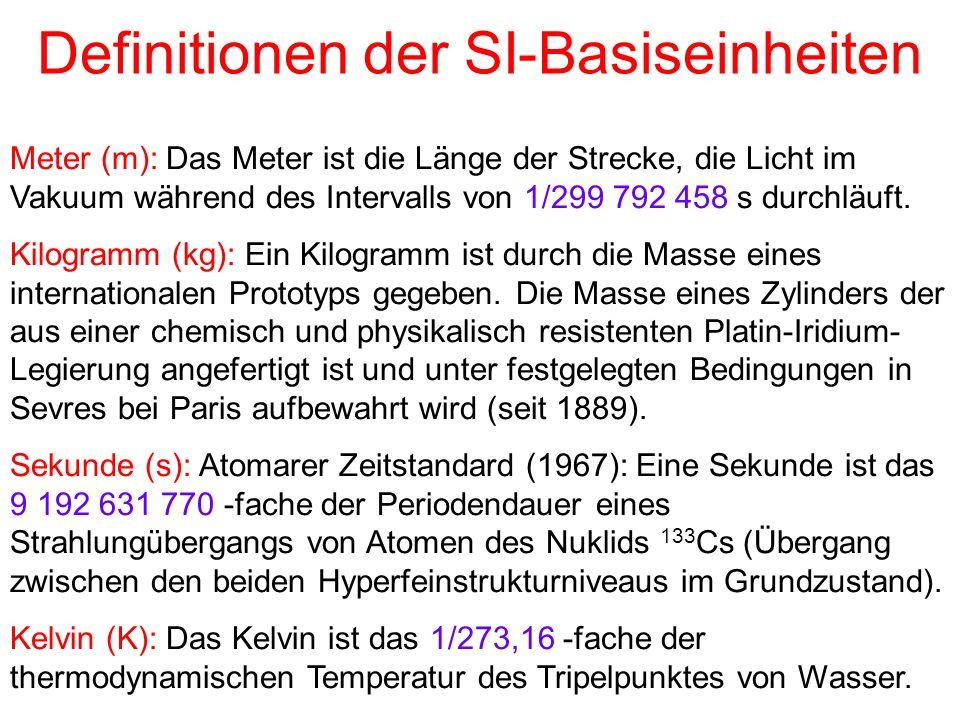 Definitionen der SI-Basiseinheiten Meter (m): Das Meter ist die Länge der Strecke, die Licht im Vakuum während des Intervalls von 1/299 792 458 s durc