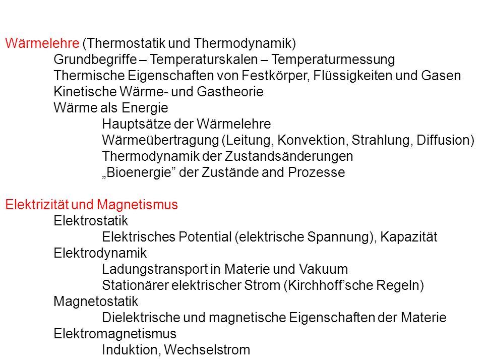 Wärmelehre (Thermostatik und Thermodynamik) Grundbegriffe – Temperaturskalen – Temperaturmessung Thermische Eigenschaften von Festkörper, Flüssigkeite