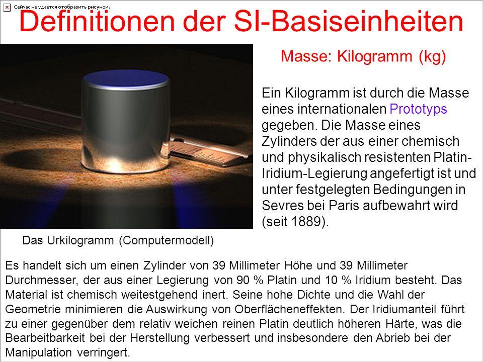 Definitionen der SI-Basiseinheiten Masse: Kilogramm (kg) Ein Kilogramm ist durch die Masse eines internationalen Prototyps gegeben. Die Masse eines Zy