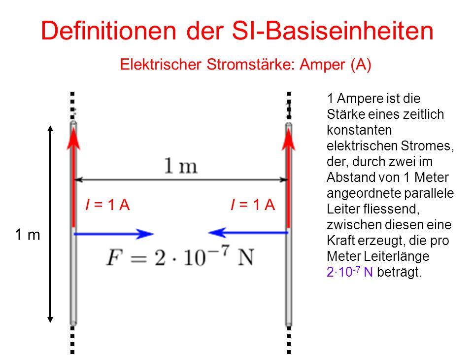 Definitionen der SI-Basiseinheiten Elektrischer Stromstärke: Amper (A) 1 Ampere ist die Stärke eines zeitlich konstanten elektrischen Stromes, der, du