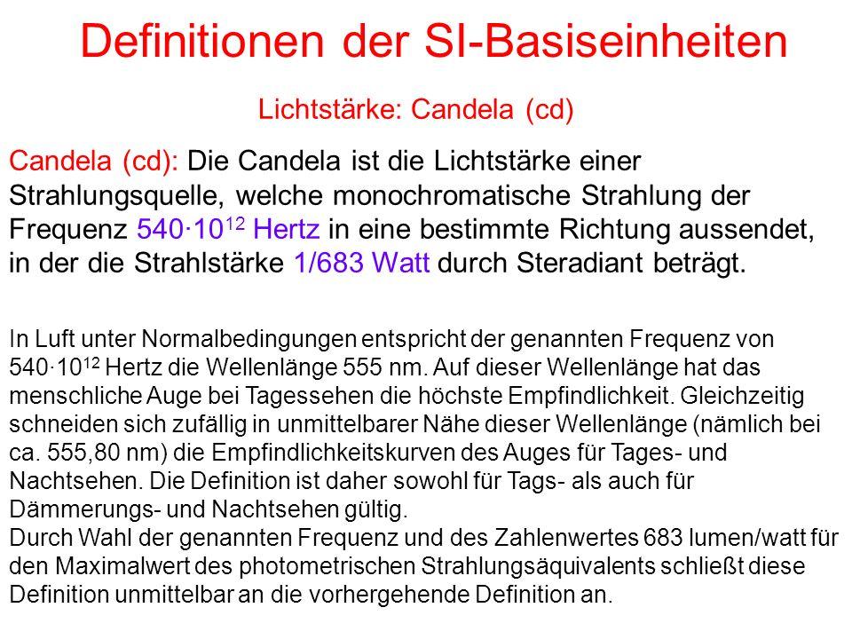 Definitionen der SI-Basiseinheiten Candela (cd): Die Candela ist die Lichtstärke einer Strahlungsquelle, welche monochromatische Strahlung der Frequen