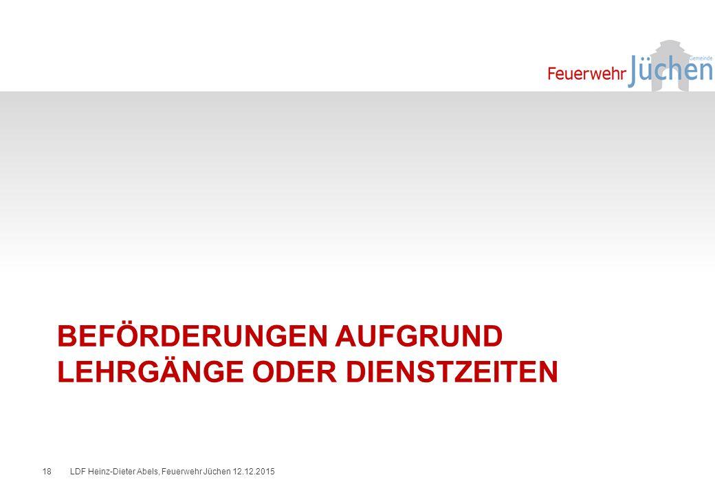 BEFÖRDERUNGEN AUFGRUND LEHRGÄNGE ODER DIENSTZEITEN LDF Heinz-Dieter Abels, Feuerwehr Jüchen 12.12.201518