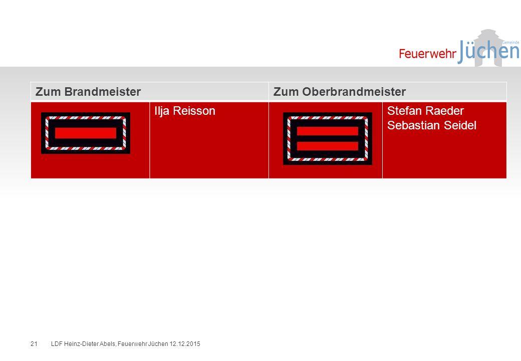 Zum BrandmeisterZum Oberbrandmeister Ilja ReissonStefan Raeder Sebastian Seidel LDF Heinz-Dieter Abels, Feuerwehr Jüchen 12.12.201521