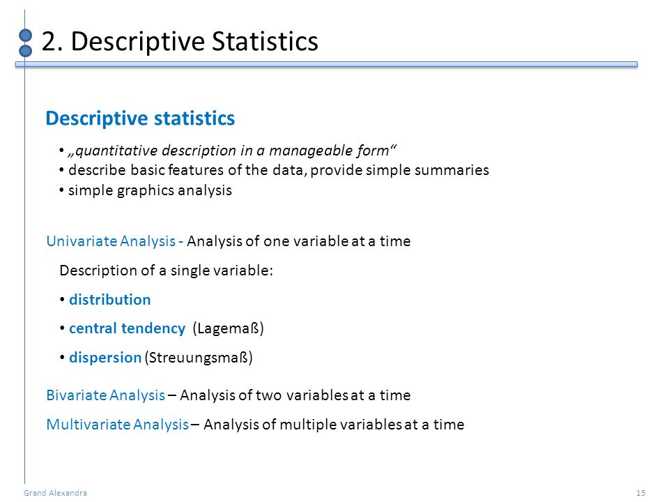 Grand Alexandra 15 2. Descriptive Statistics Univariate Analysis - Analysis of one variable at a time Description of a single variable: distribution c