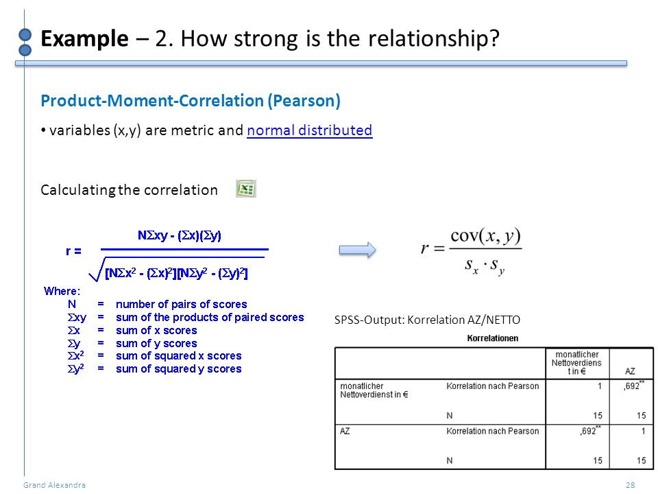Grand Alexandra 28 Example – 2. How strong is the relationship? Product-Moment-Correlation (Pearson) variables (x,y) are metric and normal distributed