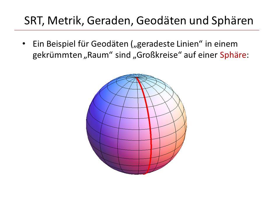 """SRT, Metrik, Geraden, Geodäten und Sphären Ein Beispiel für Geodäten (""""geradeste Linien"""" in einem gekrümmten """"Raum"""" sind """"Großkreise"""" auf einer Sphäre"""