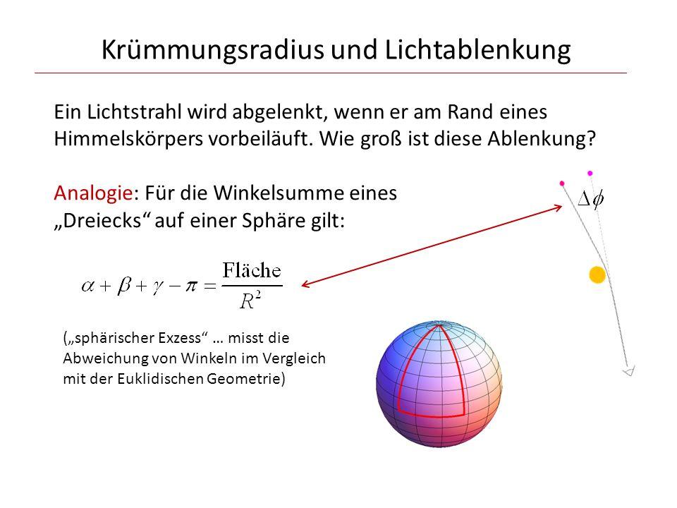 Krümmungsradius und Lichtablenkung Ein Lichtstrahl wird abgelenkt, wenn er am Rand eines Himmelskörpers vorbeiläuft. Wie groß ist diese Ablenkung? Ana