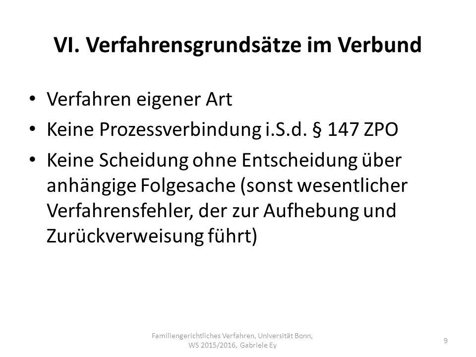 VI. Verfahrensgrundsätze im Verbund Verfahren eigener Art Keine Prozessverbindung i.S.d.