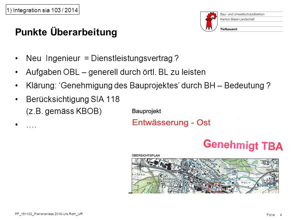 PF_151102_Planeranlass 2015-Urs Roth_UR Folie 1) Integration sia 103 / 2014 Neu Ingenieur = Dienstleistungsvertrag .