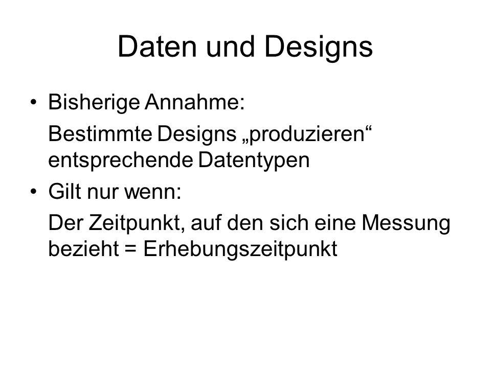 """Daten und Designs Bisherige Annahme: Bestimmte Designs """"produzieren"""" entsprechende Datentypen Gilt nur wenn: Der Zeitpunkt, auf den sich eine Messung"""