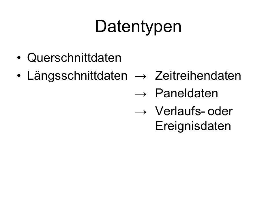 Datentypen Querschnittdaten Längsschnittdaten →Zeitreihendaten → Paneldaten → Verlaufs- oder Ereignisdaten