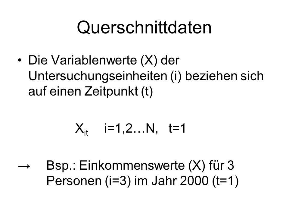 Querschnittdaten Die Variablenwerte (X) der Untersuchungseinheiten (i) beziehen sich auf einen Zeitpunkt (t) X it i=1,2…N, t=1 →Bsp.: Einkommenswerte