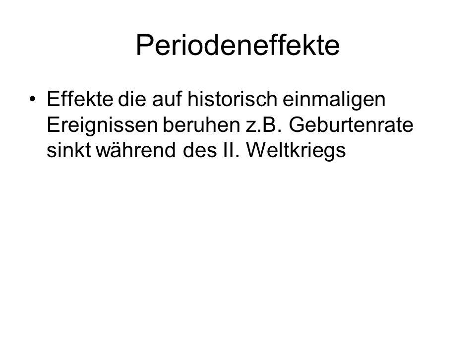 Periodeneffekte Effekte die auf historisch einmaligen Ereignissen beruhen z.B. Geburtenrate sinkt während des II. Weltkriegs
