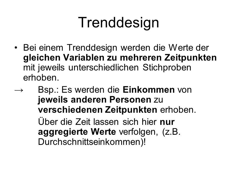 Trenddesign Bei einem Trenddesign werden die Werte der gleichen Variablen zu mehreren Zeitpunkten mit jeweils unterschiedlichen Stichproben erhoben. →