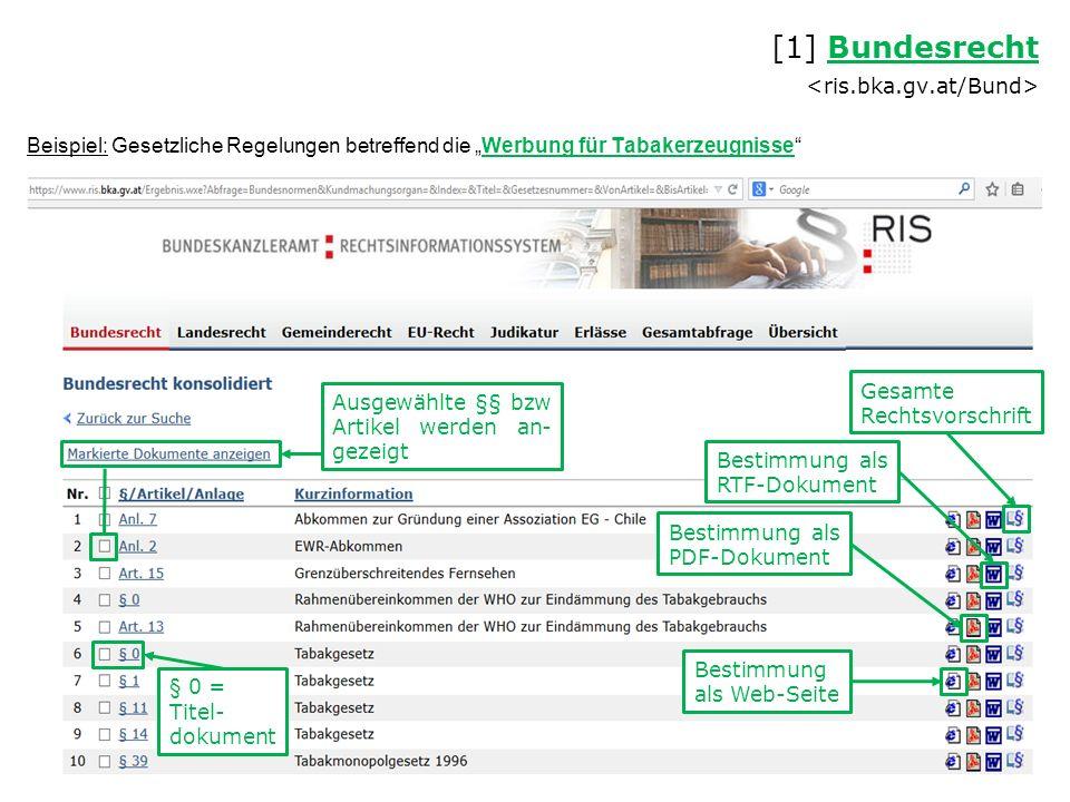 """Beispiel: Gesetzliche Regelungen betreffend die """"Werbung für Tabakerzeugnisse [1] Bundesrecht Bundesrecht Ausgewählte §§ bzw Artikel werden an- gezeigt Bestimmung als Web-Seite Bestimmung als PDF-Dokument Bestimmung als RTF-Dokument Gesamte Rechtsvorschrift § 0 = Titel- dokument"""