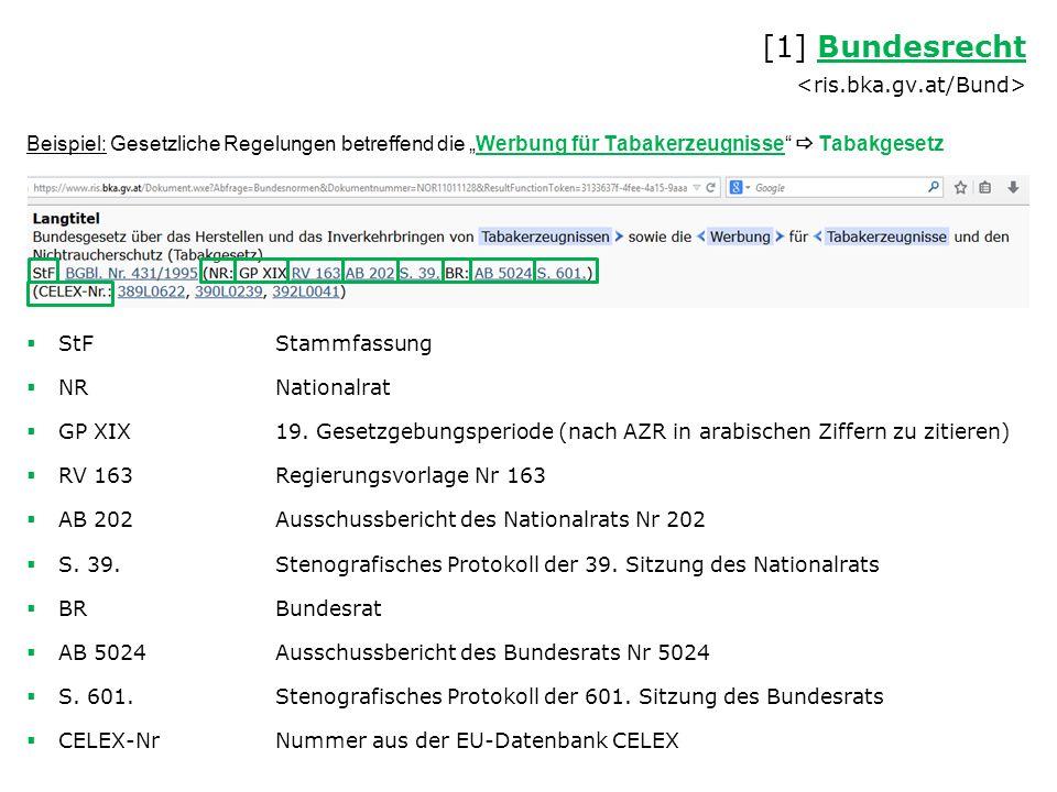 """Beispiel: Gesetzliche Regelungen betreffend die """"Werbung für Tabakerzeugnisse  Tabakgesetz  StFStammfassung  NRNationalrat  GP XIX19."""