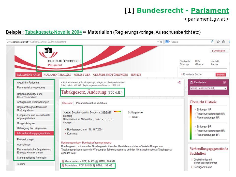 Beispiel: Tabakgesetz-Novelle 2004  Materialien (Regierungsvorlage, Ausschussbericht etc) [1] Bundesrecht - Parlament Parlament