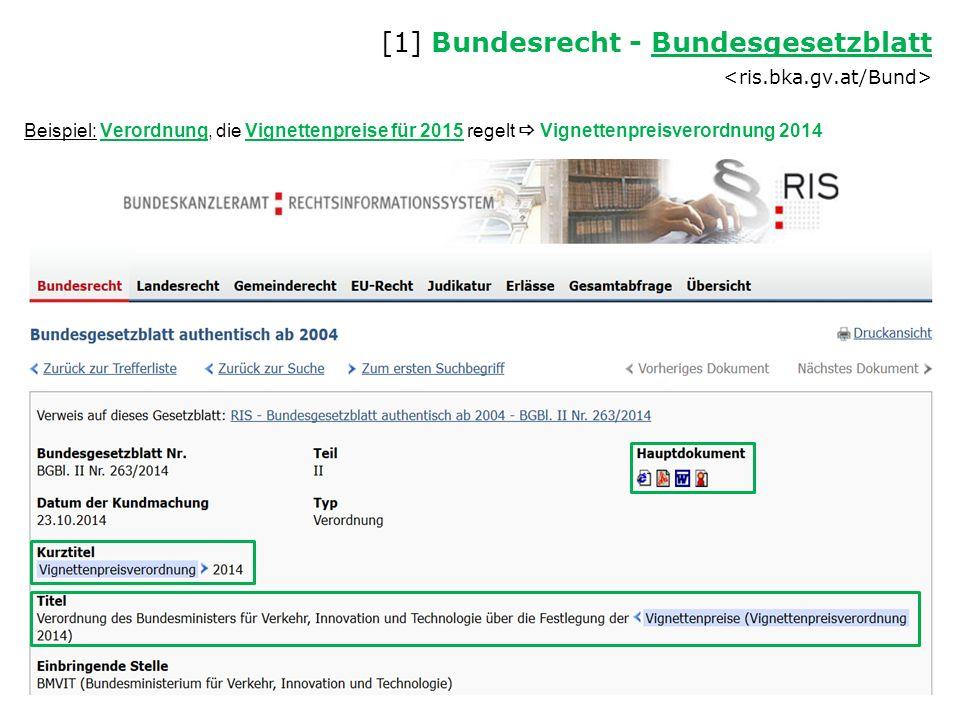 Beispiel: Verordnung, die Vignettenpreise für 2015 regelt  Vignettenpreisverordnung 2014 [1] Bundesrecht - Bundesgesetzblatt Bundesgesetzblatt