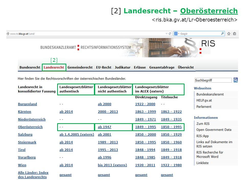 [2] Landesrecht – Oberösterreich Oberösterreich [2]