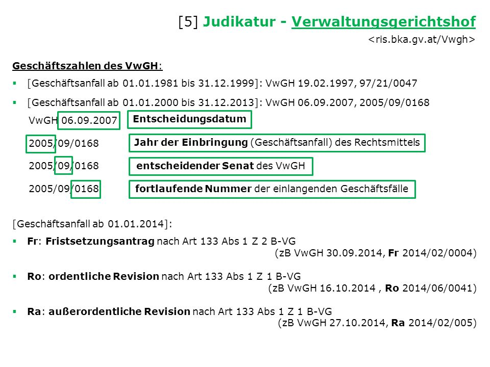 Geschäftszahlen des VwGH:  [Geschäftsanfall ab 01.01.1981 bis 31.12.1999]: VwGH 19.02.1997, 97/21/0047  [Geschäftsanfall ab 01.01.2000 bis 31.12.2013]: VwGH 06.09.2007, 2005/09/0168 VwGH 06.09.2007 2005/09/0168 [Geschäftsanfall ab 01.01.2014]:  Fr: Fristsetzungsantrag nach Art 133 Abs 1 Z 2 B-VG (zB VwGH 30.09.2014, Fr 2014/02/0004)  Ro: ordentliche Revision nach Art 133 Abs 1 Z 1 B-VG (zB VwGH 16.10.2014, Ro 2014/06/0041)  Ra: außerordentliche Revision nach Art 133 Abs 1 Z 1 B-VG (zB VwGH 27.10.2014, Ra 2014/02/005) [5] Judikatur - Verwaltungsgerichtshof Verwaltungsgerichtshof Entscheidungsdatum Jahr der Einbringung (Geschäftsanfall) des Rechtsmittels entscheidender Senat des VwGH fortlaufende Nummer der einlangenden Geschäftsfälle