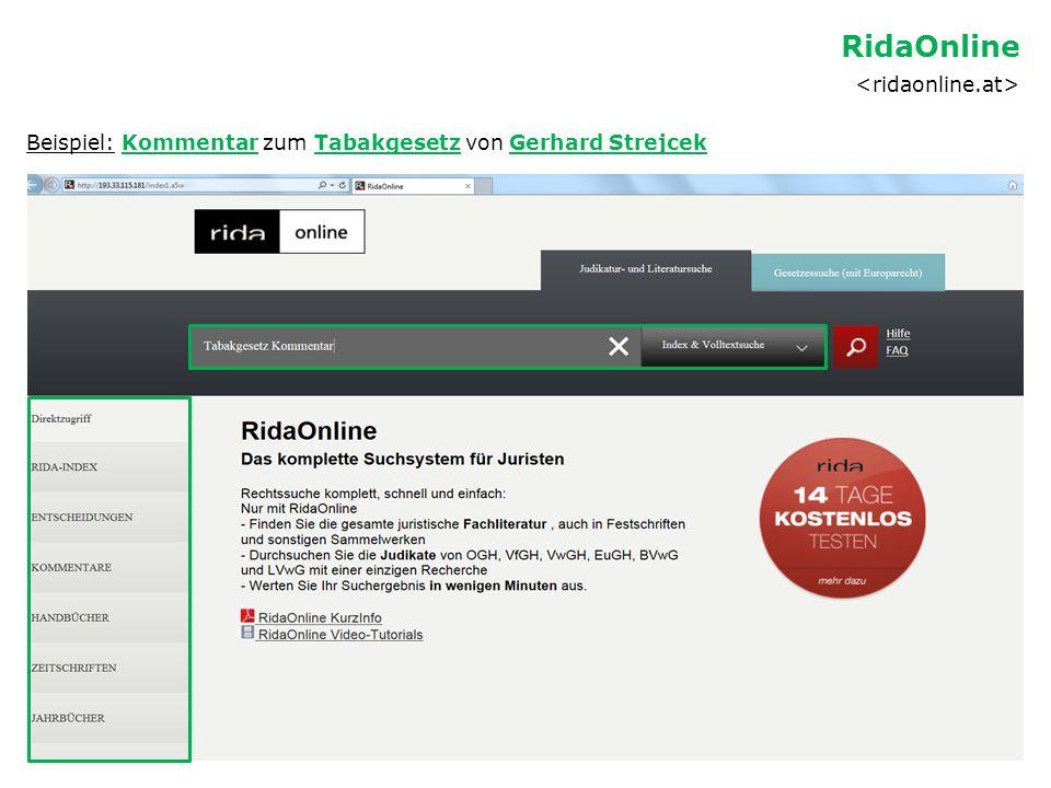 Beispiel: Kommentar zum Tabakgesetz von Gerhard Strejcek RidaOnline