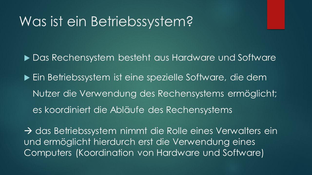 Was ist ein Betriebssystem?  Das Rechensystem besteht aus Hardware und Software  Ein Betriebssystem ist eine spezielle Software, die dem Nutzer die